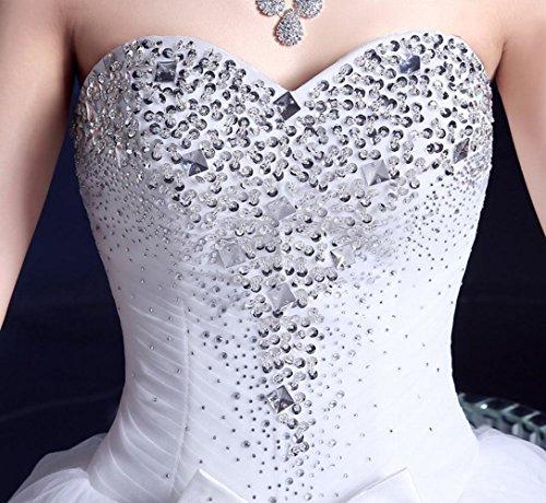 con diamanti abito sottile Vestito nuziale da e sottile da da sposa donna vestito punta a da sposa LJF con bianca cerimonia scollo xAY6wnYPq