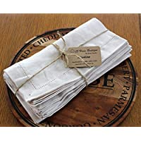 "Linen Napkins Stonewashed 100% Linen Handmade Hemstitched Set of 4 18"" x 18"" beige color napkins pre-wased linen napkins"