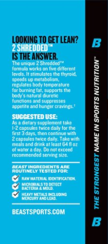 Beast-Sports-Nutrition–2-Shredded–Thermogenic-Weight-Loss-Supplement–Burns-Body-Fat–Controls-Appetite–Supports-Healthy-Thyroid–Increases-Daily-Energy–60-Veggie-Caps