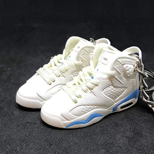 Pair Air Jordan VI 6 Retro White UNC Blue OG Sneakers Shoes 3D Keychain 1:6 Figure