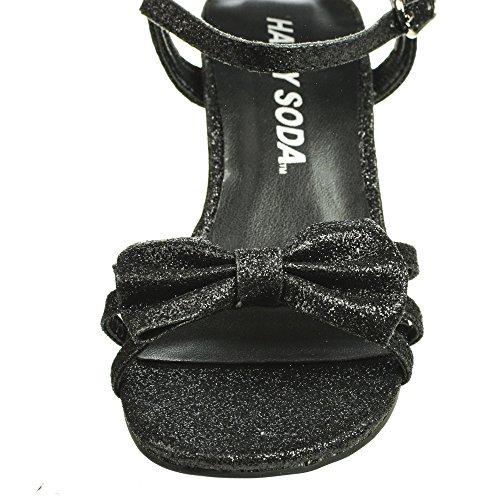5fffc9b7fa9 GirlyII Black Pat Children s Open Toe Bow Slingback Small Block Heel ...