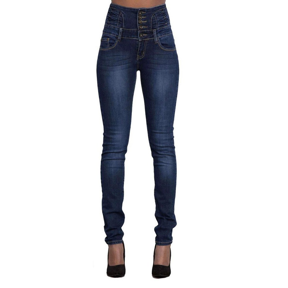 Women Shirts Hot! WEUIE Women Ripped High Waist Slim Skinny Jeans Stretch Denim Hot Pencil Denim Pants (XL,Dark Blue)