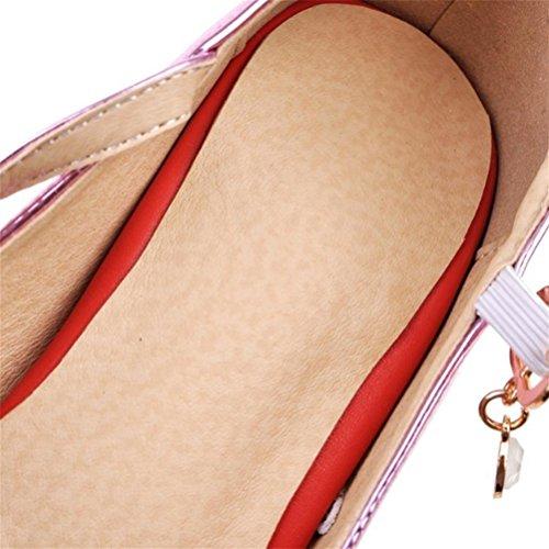 Boucle Avec Ronde Jane Femmes Grande Chaussures pink Mary Femmes De Ceinture Rough Chaussures Chaussures Taille XIE Tête Seules nU4CwWqCv