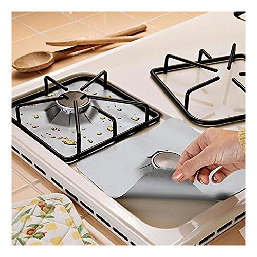 "4-Pack Gas Range Protectors – Silver/Grey Gas Stove Burner Protector Liner Cover Clean Mat Pad – Reusable, Non-Stick, Dishwasher Safe, Easy to Clean – FDA Approved,10.6"" x 10.6"""