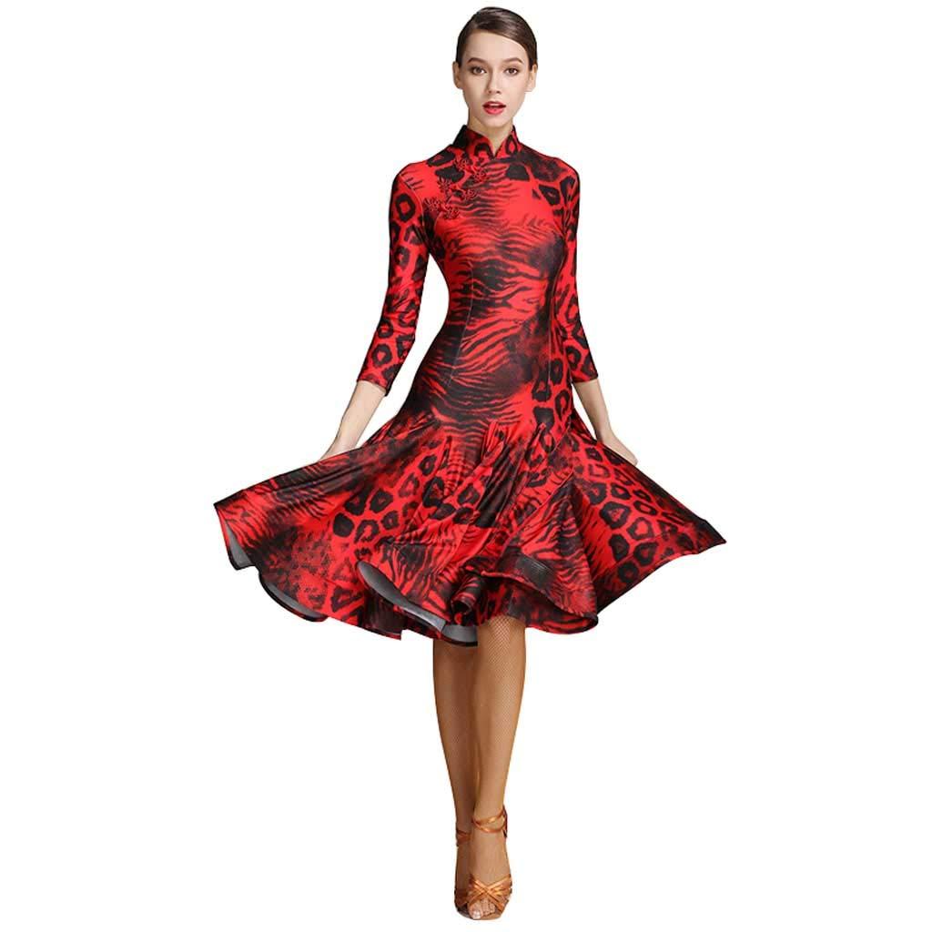 アダルトラテンダンス練習服女性、スプリットチョンサムの首輪ドレス B07H8BLNRX  レッド XL