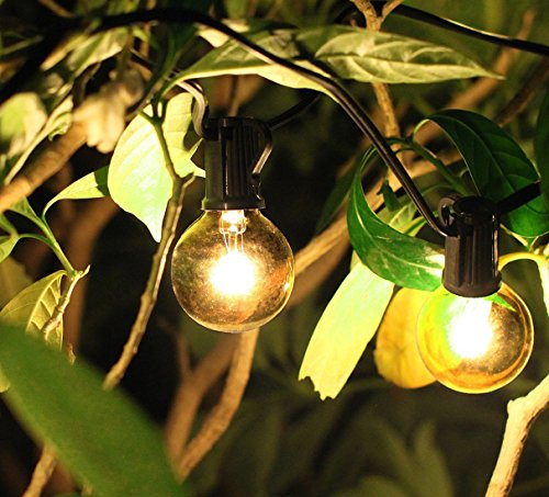 Goothy Globe String Lights 100Ft with G40 100 Clear Bulbs Outdoor Garden Party Patio Bistro Market Cafe Hanging Umbrella Lamp Backyard Lights - Black