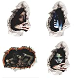Halloween Wall Sticker Decals,Miya 3D Illusion Horror Ghost Decal Broken Wall Self Adhesive Stickers Removable Sticker 4PCS Scary Wall Decoration Decal for Halloween Party Festival Bedroom Décor