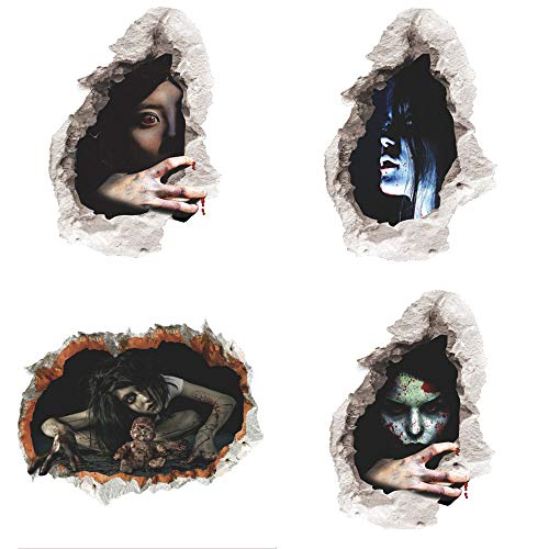 Halloween Decor 3D Scary Ghost Broken Wall Stickers 4pcs, PVC Material Lifelike Ghost Horror Window Clings Decals 4 Patterns for Haunted House Happy Halloween Home Bedroom Decorations]()