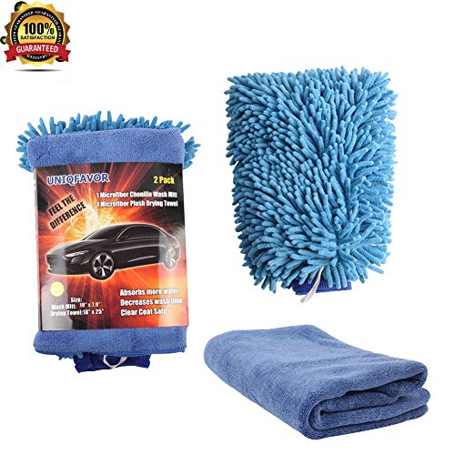 UNIQFAVOR Car Wash Mitt Waterproof - 2 Pack Car Wash Clean Tools Kit Waterproof Chenille Wash Mitt Microfiber Cleaning Cloth Drying Towel No Scratch Lint-Free