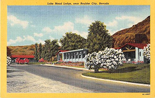 (Boulder City Nevada view of Lake Mead Lodge linen antique pc Z21812)