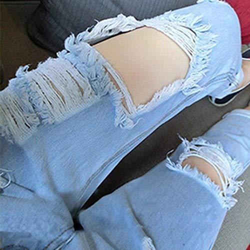 Bild Delanteros Pantalones Rectos Mujeres Als Bolsillos Vaqueros De Las Aire Ropa Libre Al Botones Rasgados Boyfriend Casuales 818aqwrB