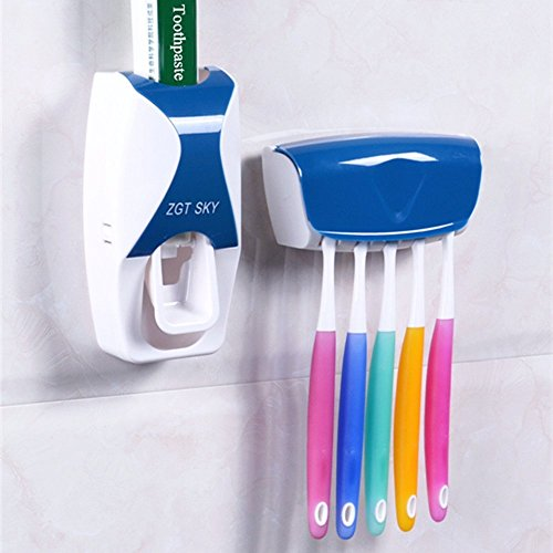 Toothpaste Dispenser with Toothbrush Holder Organizer Hands Free