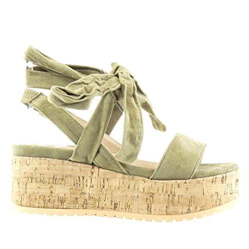 5f3fa0798dd ... Angkorly - Zapatillas de Moda Sandalias Mules zapatillas de plataforma  mujer tanga nodo corcho Talón Plataforma ...