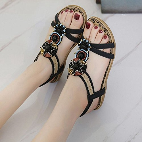 SJJH Bohemia Flat Sandals Beach Sandals for Beautiful Ladies Black CpwNwKpTGu