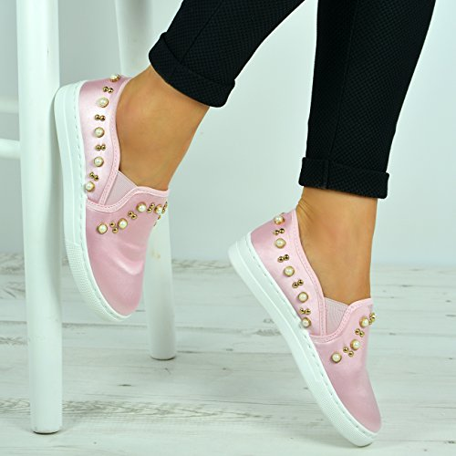 Cucu Fashion New Womens Casual Sneakers Flat Slip On Pearl Trainers Pumps Shoes Sizes UK 3-8 Pink M4PaML