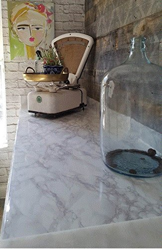 White Granite Tiles (Countertop Transformation Marble White Grey Faux Marble Film 3' W x 6'L Why Paint. Just Peel and Stick.)