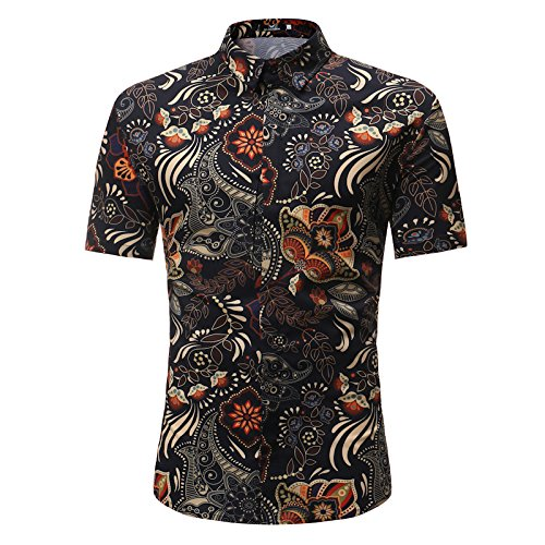 bb0ed4196 MYMSTORM Men's Flower Hawaiian Casual Button Down Short Sleeve Shirt (Small,  Black)