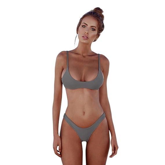 ❤️JiaMeng Bikini, Bikini Tanga Mujer Playa Mujeres Push-Up Acolchado Bra Beach Bikini Set Traje de baño de Color sólido Traje de baño de separación