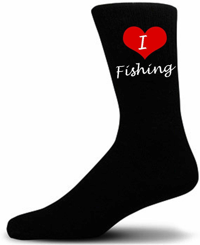 Black Cotton Novelty Socks Adult UK 5-12 I Love Fishing Picture Socks