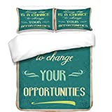 3Pcs Duvet Cover Set,Lifestyle,Every Day is a Chance to Change Your Opportunities Quote Retro Poster Print,Jade Green Tan,Best Bedding Gifts for Family/Friends