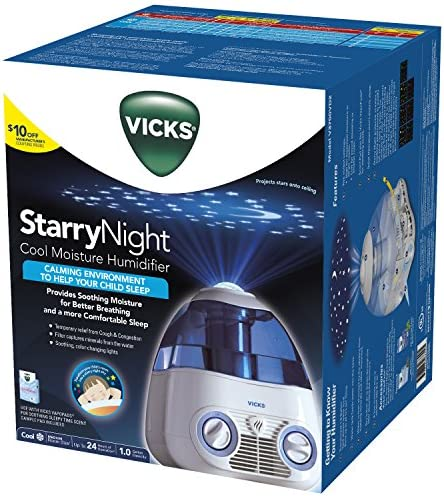 Vicks Starry Night Cool Moisture Humidifier with Projector VapoPad Scent Pad Heater, Pink