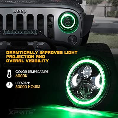 Xprite 7 Inch 90W CREE LED Headlights & 4 Inch 60W Fog Lights Combo w/Green Halo for 2007-2020 Jeep Wrangler JK: Automotive