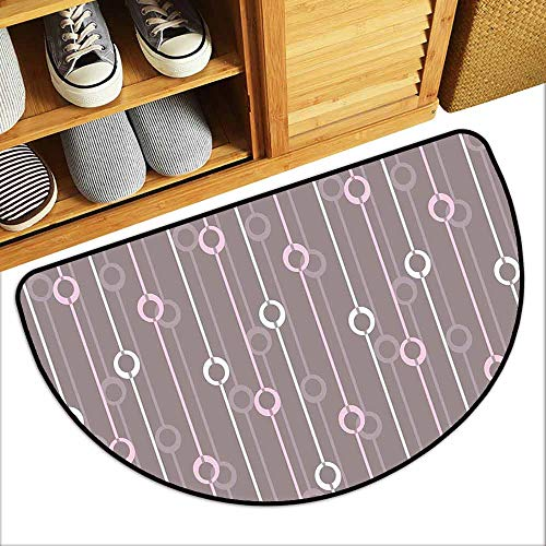 DILITECK Thin Door mat Geometric Circles with Lines Vintage Color Palette Abstract Striped Illustration Suitable for Outdoor and Indoor use W31 xL20 Warm Taupe Pink White