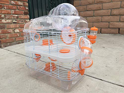 NEW 3 Level Sparkle Clear Transparent Syrian Hamster Mice Mouse Rat Cage With Large Top Running Ball (Orange)