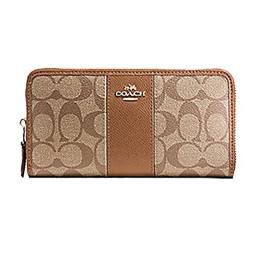 Wallet Purse Accordion (Coach ACCORDION ZIP WALLET IN SIGNATURE COATED CANVAS WITH LEATHER STRIPE, Khaki, 7.5 in x 4 in x 1 in)