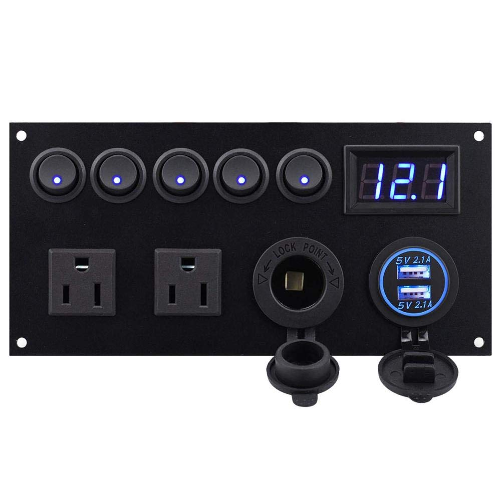 HERCHR Dual USB Charger Socket 4.2A + 12V Power Outlet + LED Voltmeter + Dual 15A Outlets with 5 Gang Toggle Switch Multi-Functions Pan