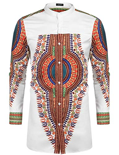 COOFANDY Men's African Dashiki Print Shirt Long Sleeve Button Down Shirt Bright Color Tribal Top Shirt (S, White)