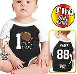 Custom Cotton Add Your Name Number Football Birthday Shirts for Onesies & Newborns Black-White