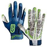 Grip Boost Stealth Football Gloves Pro Elite (Navy Blue/Green, Youth Medium)