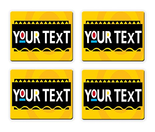 BRGiftShop Customize Your Own Classic Sitcom Comedy Font Set of 4 Square Beverage Coasters