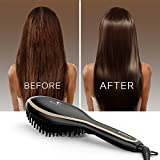 Hair Straightening Brush, USpicy Hair Straightener Brush MCH Heating Technology with FREE Heat Resistant Glove for Silky Frizz-free 320-450℉/160-230℃ Adjustable Temperature, Auto Lock, Anti-Scald