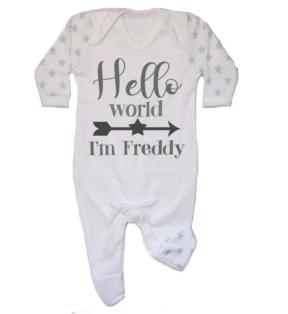 Hello World Personalised Newborn Baby Bodysuit Personalised Newborn Baby Gift