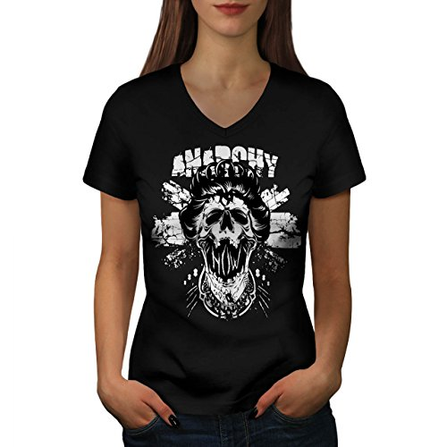 Anarchy Skull Queen Royal Death Women S V-Neck T-shirt | (Queen Mary Halloween Deaths)