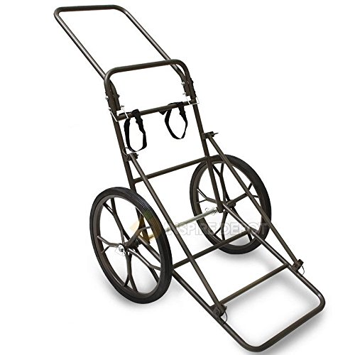 GHP 500Lbs Capacity Steel Brown Coated Dolly Cart with 18.5'' Removable Rubber Wheels by Globe House Products