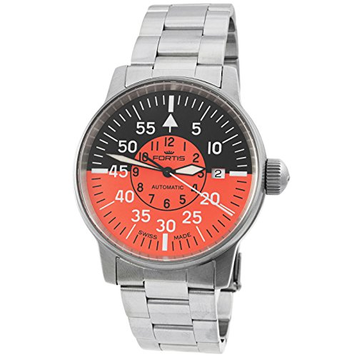 Fortis Men's Aviatis Flieger Cockpit Orange Luxury Watch 595.11.13 M