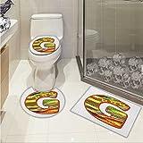 lacencn Letter G Toilet carpet floor mat G Letter Character Language System Learning College Surname Red Calligraphy Design 3 Piece Shower Mat set Multicolor