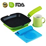 (SET OF 6) Premium Quality Silicone Pot Holders, Handle Holders for Hot Pans and Cast Iron Skillets. 5 in 1 as Hot Pad, Spoon Rest,Trivets, Jar Opener, Pot Mat. Flexible,Thick and Durable