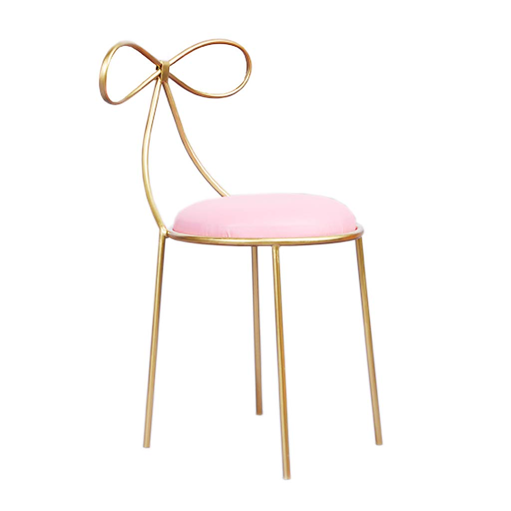 Fashion Wrought Iron Bracket Bar Stool Kitchen Breakfast Stool Chair gold Leg Sponge Pad Design (Sitting Height  45cm)