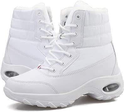 Botas de Nieve Mujer Invierno Cálido Calentar Piel Forro Botines Planas Snow Boots Antideslizante Impermeables Botas Furty Rising Hot para Caminar Senderismo Blanco Negro 36-43