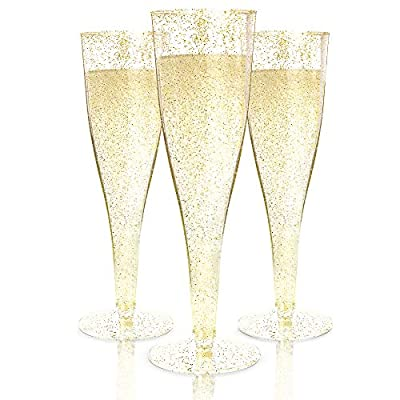 Plastic Champagne Flutes Disposable - 100 Pack   Gold Glitter Plastic Champagne Glasses for Parties   Glitter Clear Plastic Cups   Plastic Toasting Glasses   Mimosa Glasses   Wedding Party Bulk Pack