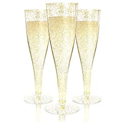 Party up with elegance using Prestee premium champagne flutes with sparkling glitter design to emanate sheer sophistication. Wherever the party's at, these plastic glasses are perfect for enjoying your favorite beverage while taking in the go...