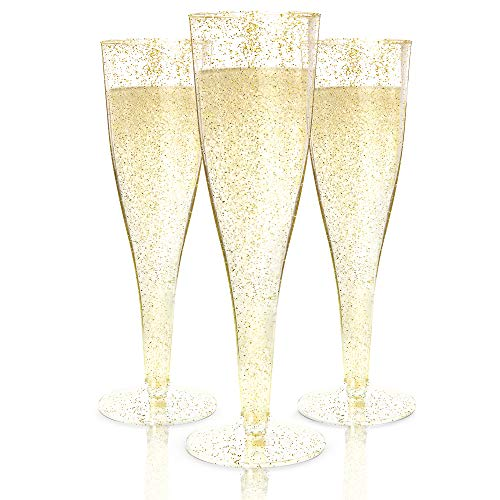(Plastic Champagne Flutes Disposable - 100 Pack | Gold Glitter Plastic Champagne Glasses for Parties | Glitter Clear Plastic Cups | Plastic Toasting Glasses | Mimosa Glasses | Wedding Party Bulk Pack)