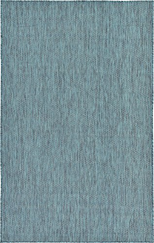 Unique Loom Outdoor Solid Collection Casual Transitional Indoor and Outdoor Flatweave Teal  Area Rug (5' 0 x 8' 0) (5x8 Teal Rug)