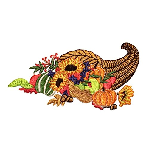 ID 1265 Thanksgiving Cornucopia Patch Fall Harvest Embroidered Iron On Applique