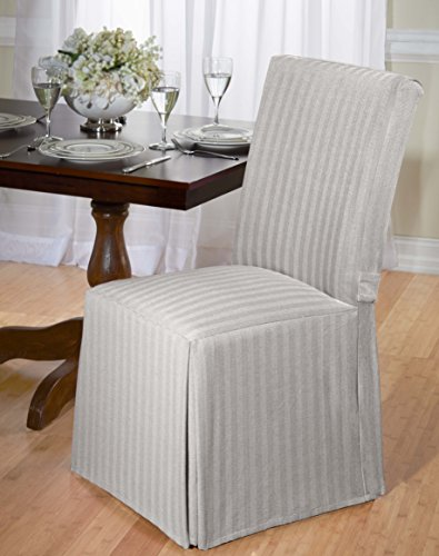 Luxurious Dining Chair Cover, Herringbone, Beige, Grey, and Red (Gray) (Straight Chair Back Covers)