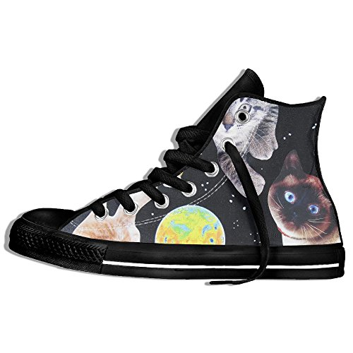 Classic High Top Sneakers Canvas Shoes Anti-Skid Funny Space Cats Casual Walking For Men Women Black UBmIU9cmbE